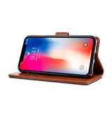 iPhone X | iPhone X/Xs - Retro Diary Læder Cover Etui M. Pung - Brun - DELUXECOVERS.DK