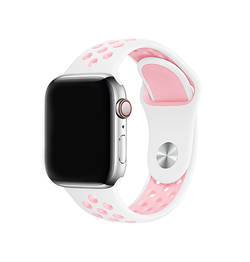 Apple Watch 42mm | Apple Watch (42-44mm) - 4Run™ Silikone Løbe Sportsrem - Rose/Hvid - DELUXECOVERS.DK