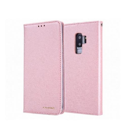 Samsung Galaxy S9 | Samsung Galaxy S9 - CMAIS Stof Flipcover Etui - Rosa/Guld - DELUXECOVERS.DK