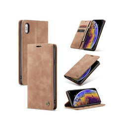 iPhone XS Max | iPhone XS Max - CaseMe™ Vintage Læder Etui / Pung - Brun - DELUXECOVERS.DK