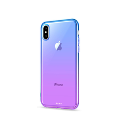 iPhone XS Max | iPhone Xs Max Valkyrie Gradient Silikone Cover - Lilla / Blå - DELUXECOVERS.DK