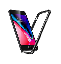 iPhone 7/8/SE - Deluxe™ 360° Air Edge Aluminum Bumber - Sort - DELUXECOVERS.DK