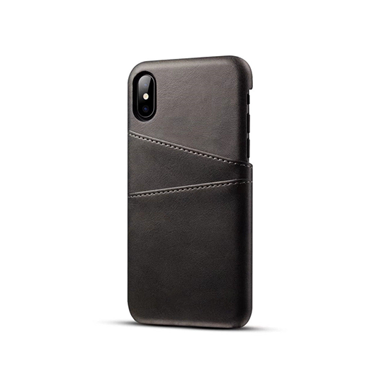 iPhone XS Max | iPhone XS Max - NX Design Læder Bagcover M. Pung - Sort - DELUXECOVERS.DK