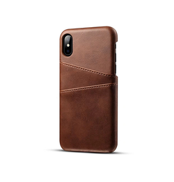 iPhone X | iPhone X/Xs - NX Design Læder Bagcover Med Kortholder - Brun - DELUXECOVERS.DK