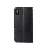 iPhone X | iPhone X/Xs - Deluxe Læder Etui Med Pung - Sort - DELUXECOVERS.DK