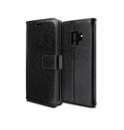 Samsung Galaxy S9 | Samsung Galaxy S9 - Deluxe Læder Etui Med Pung - Sort - DELUXECOVERS.DK