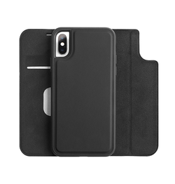 iPhone XS Max | iPhone XS Max - FolioPro 2-i-1 Etui M. Magnetisk Aftageligt Cover - Sort - DELUXECOVERS.DK