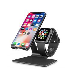 Omotion™ CNC Aluminium Stander til Smartphone / Watch - Sort - DELUXECOVERS.DK