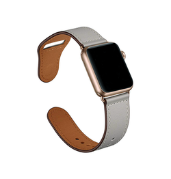 Apple Watch 38mm | Apple Watch (38-40MM)  FINESSE Ægte Læder Rem / Urrem - Grå - DELUXECOVERS.DK