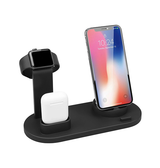 DeLX™ - 3-i-1 Qi - Trådløs Oplader Station til iPhone / Apple Watch / AirPods - Sort - DELUXECOVERS.DK