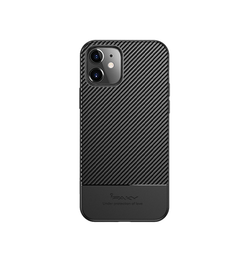 iPhone 12 | iPhone 12 - iPaky™ Silikone Carbon Fiber Cover - Sort - DELUXECOVERS.DK