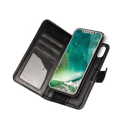 iPhone X | iPhone X/Xs - Vintage 2-In-1 Læder Etui M. Cover - Sort - DELUXECOVERS.DK