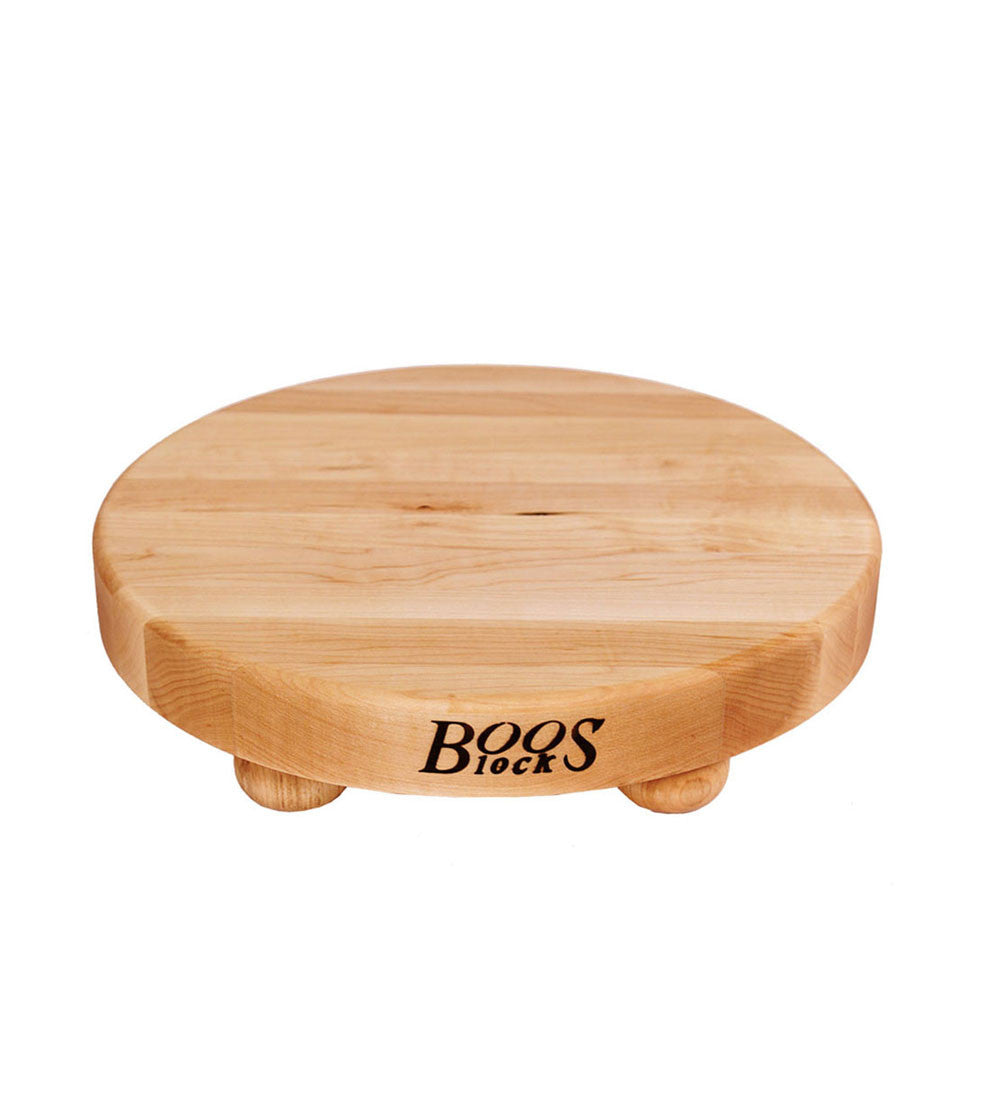 "John Boos 1 1/2"" Thick Round Maple Cutting Board With Feet"