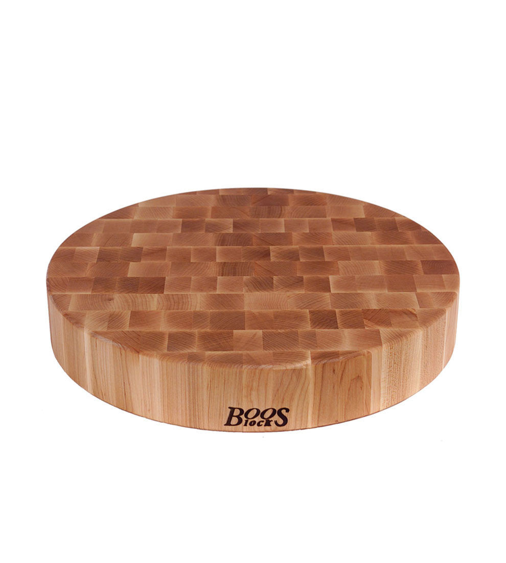 "John Boos 18"" Diameter 3"" Thick Round Maple Chopping Block - Non-Reversible"