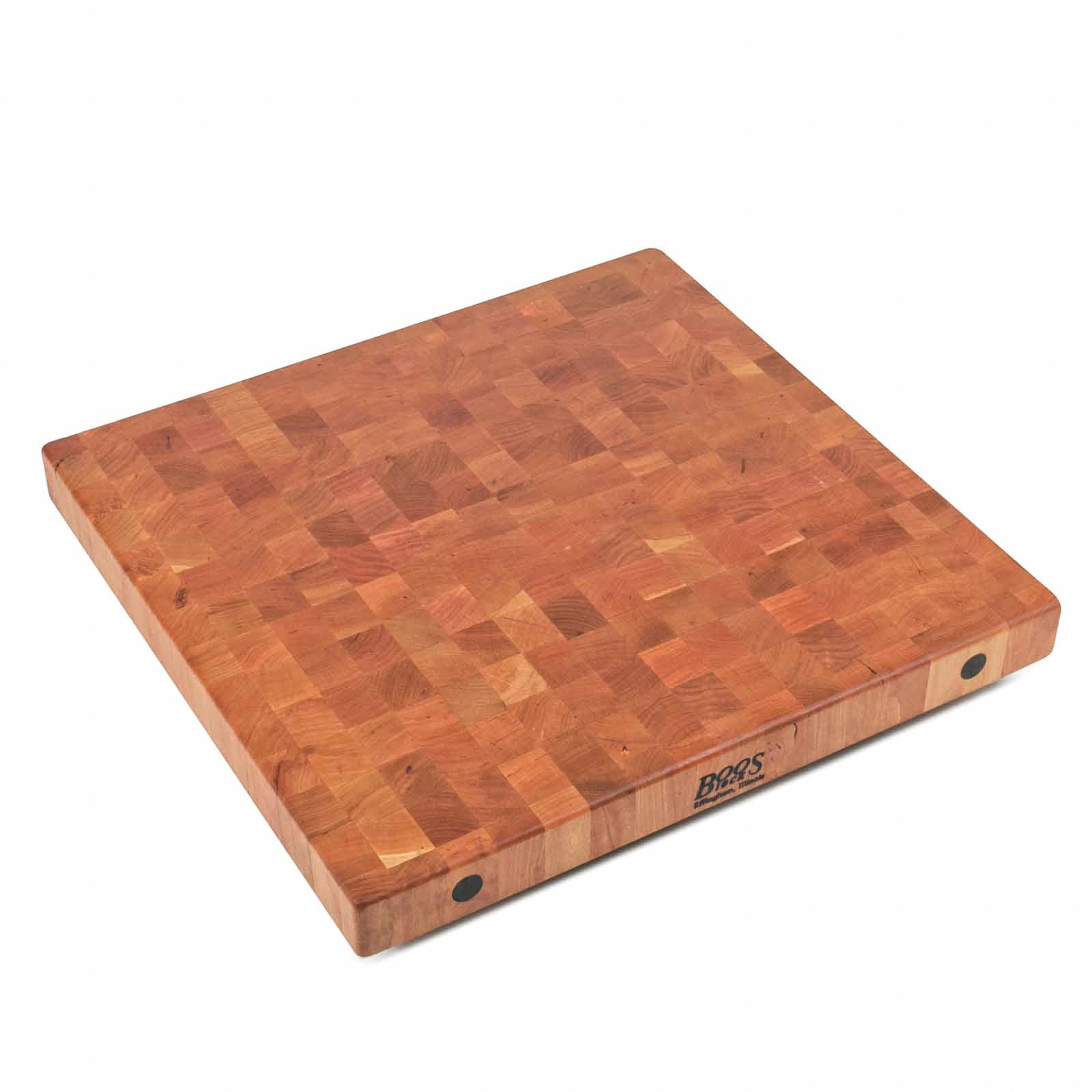 "John Boos 2 1/4"" Thick End Grain Cherry Butcher Block Island Top - 25"" Wide"