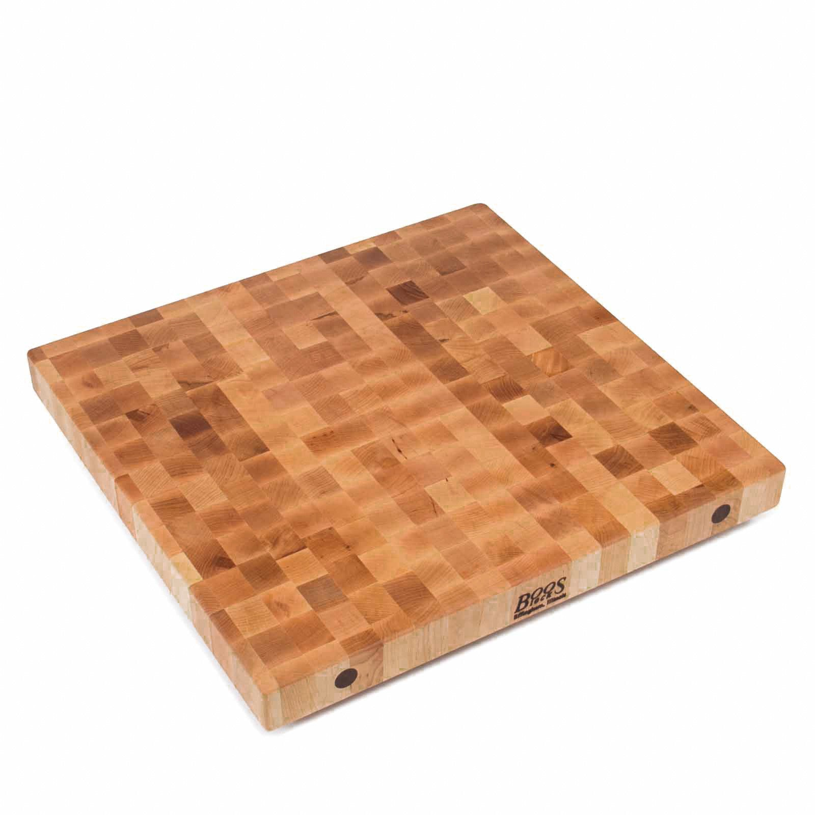 "John Boos 2 1/4"" Thick End Grain Maple Butcher Block Island Top - 27"" Wide"