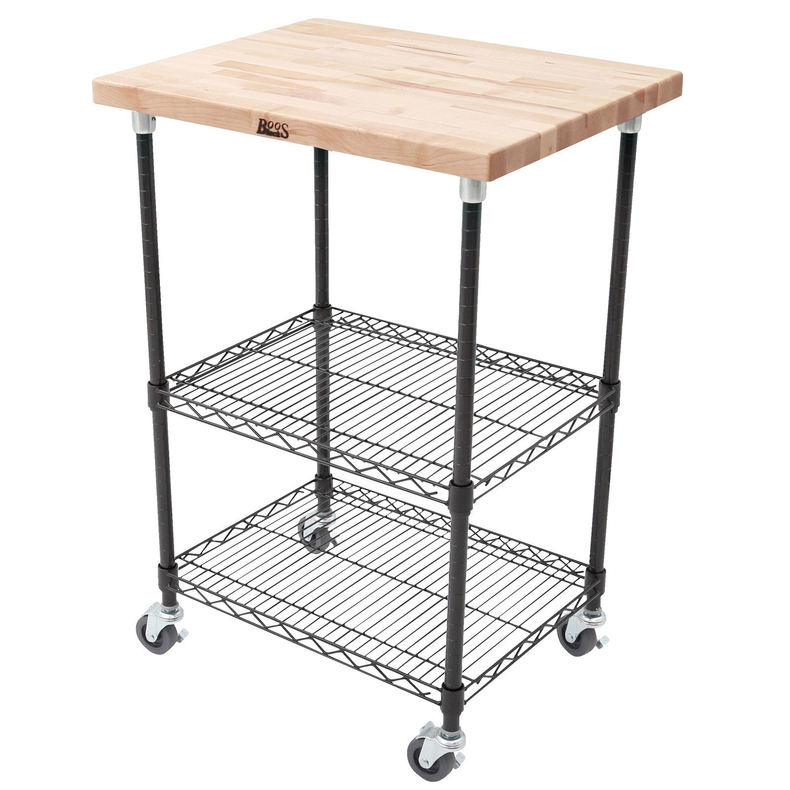 "John Boos MET-MWCK-1 1 1/2"" Maple Top Metro Cart - Black Base - 27 X 21 X 36"