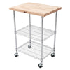 "John Boos MET-MWC-1 1 1/2"" Maple Top Metro Cart - Chrome Base - 27 X 21 X 36"