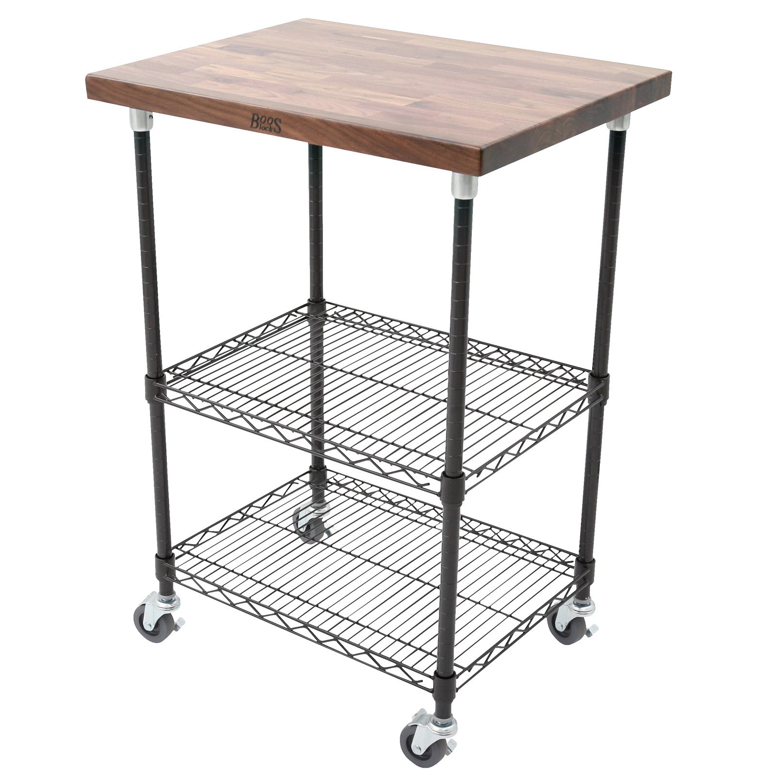 "John Boos MET-WWCK-1 1 1/2"" Walnut Top Metro Cart - Black Base - 27 X 21 X 36"