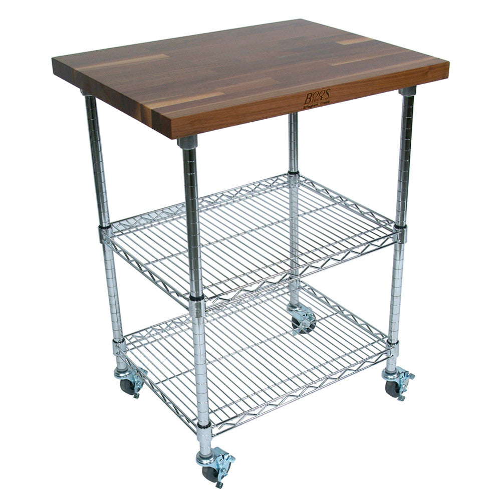 "John Boos MET-WWC-1 1 1/2"" Walnut Top Metro Cart - Chrome Base - 27 X 21 X 36"