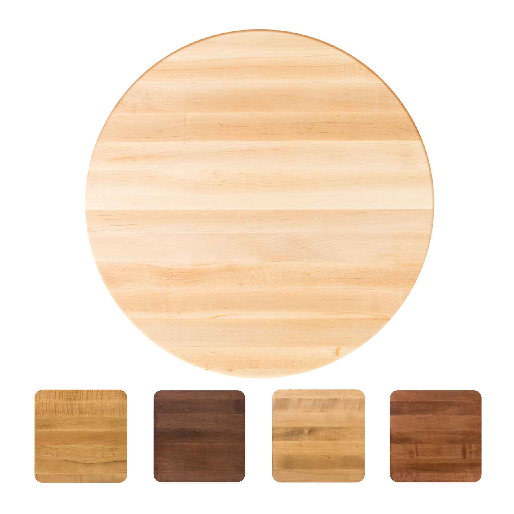 John Boos Round RTSM Soft Maple Butcher Block Table Top - Stainable
