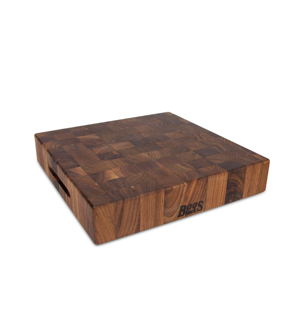 "John Boos 15"" x 15"" x 3"" Thick Walnut Chopping Block - Reversible with Hand Grips"