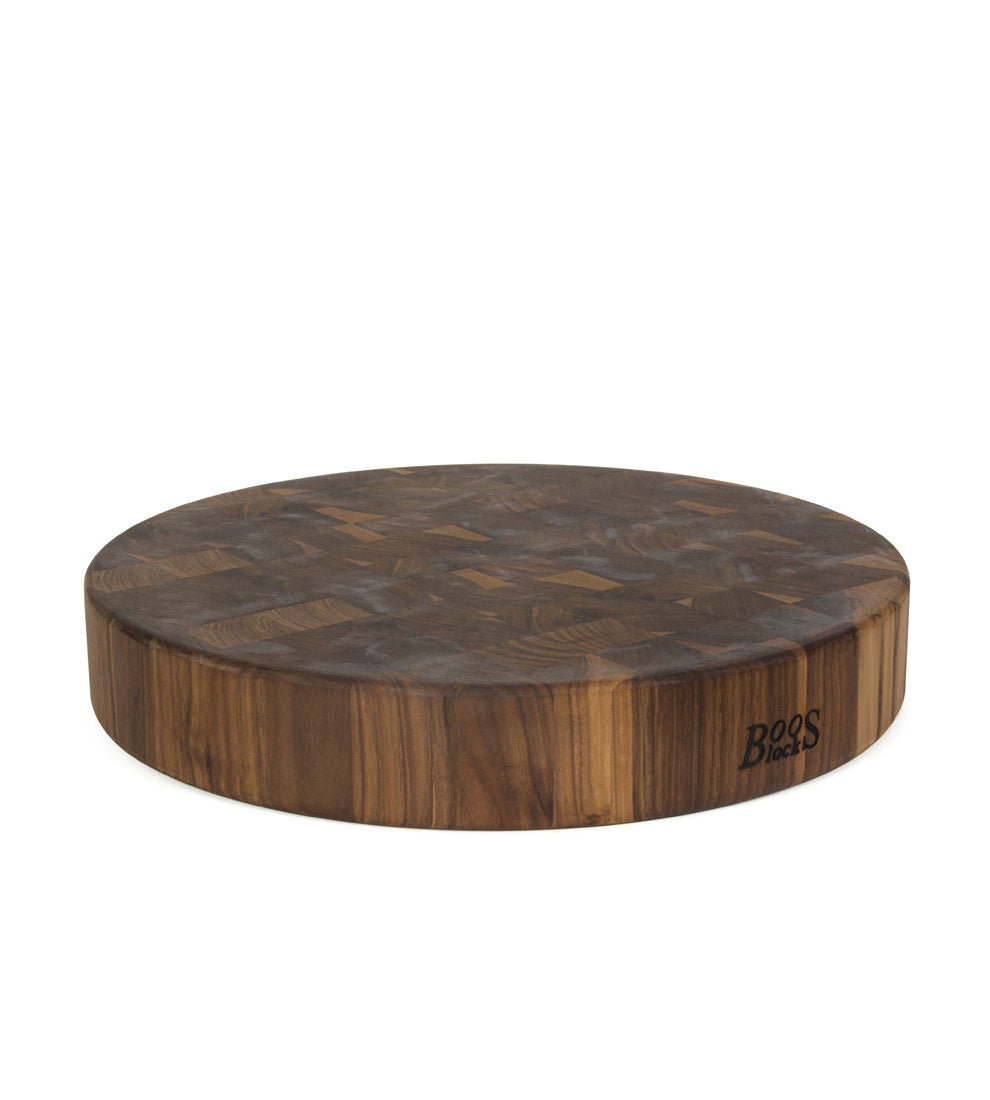 "John Boos 18"" Diameter 3"" Thick Round Walnut Chopping Block - Non-Reversible"