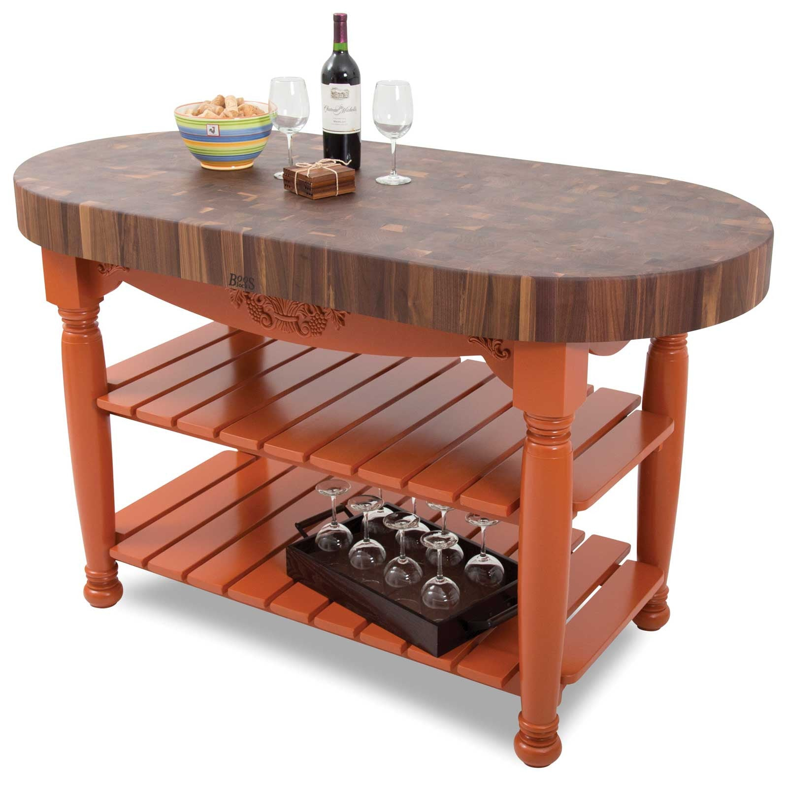 "John Boos 60"" x 30"" x 4"" Walnut Top Harvest Table"