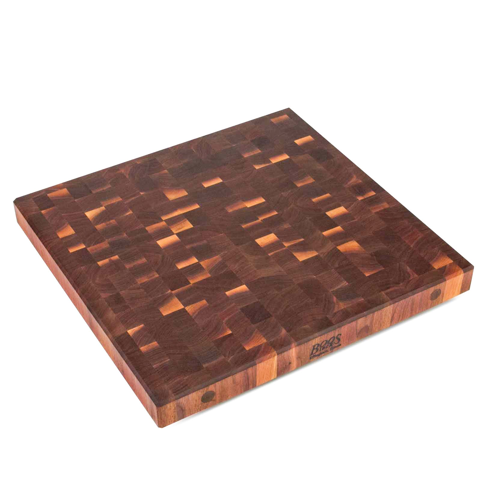 "John Boos 2 1/4"" Thick End Grain Walnut Butcher Block Island Top - 25"" Wide"