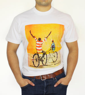 Open image in slideshow, Men's Crewneck - Two Cyclists