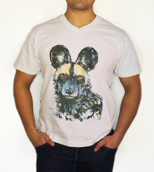 Open image in slideshow, Men's V-Neck - Painted Dog