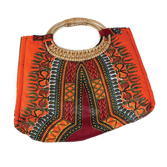 Traditional Print Orange African Wicker Handle Bag