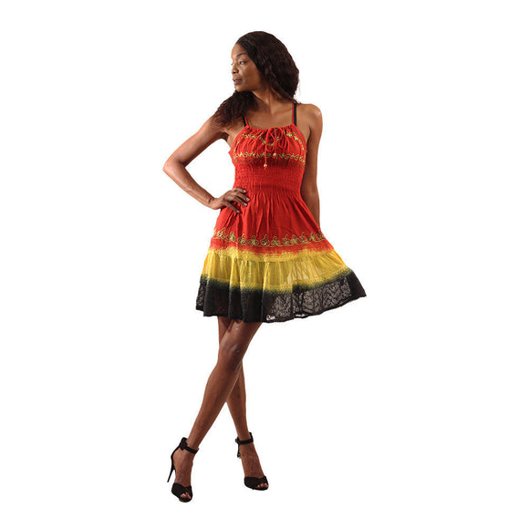 Rasta Spaghetti Strapped Mini Flare Dress - S&E Retail Expo