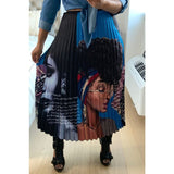 Black Woman Face Print Pleated Skirt - S&E Retail Expo