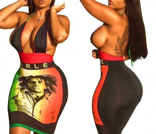 Bob Marley Rasta Colors Sexy Bodycon Open Back Hollow Front Mini Dress
