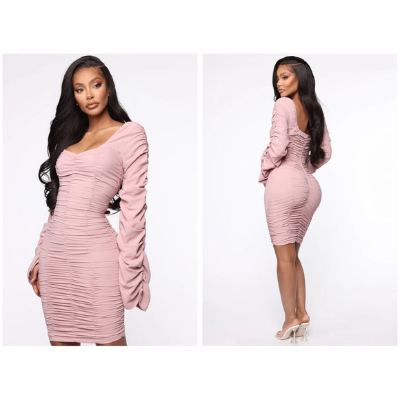 Mauve Ruched Dress