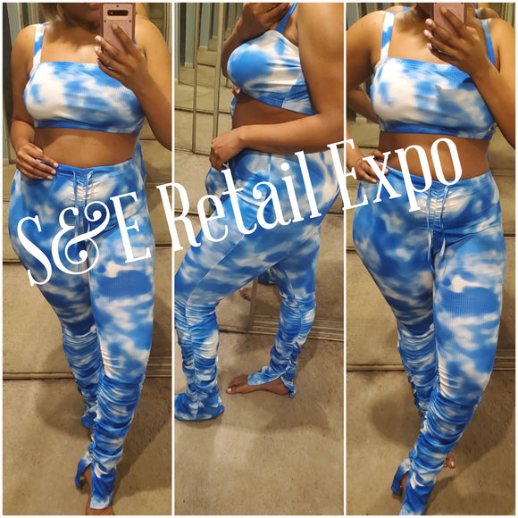 Blue & White Ruched Stacked Pants & Cropped Top Tie Dye Set - S&E Retail Expo