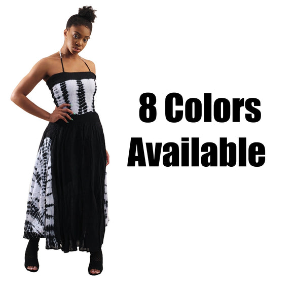 Tie Dye Strapped Maxi Dress