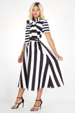 Black & White Striped Bowtied Neck Flare Dress - S&E Retail Expo