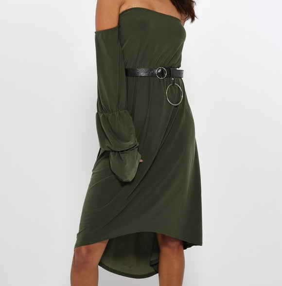 High Low Shoulder Stuck Dress - S&E Retail Expo