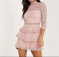 Pink Lace Ruffle Dress