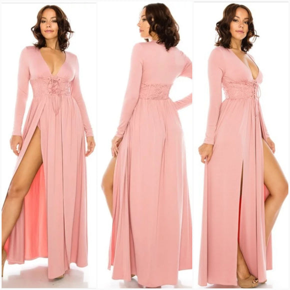 Double Slit Mauve Laced Front Maxi Dress