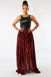 Black & Red Leatherette Maxi Dress - S&E Retail Expo