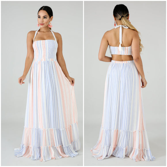 Cotton Candy Striped Halter Maxi Dress - S&E Retail Expo