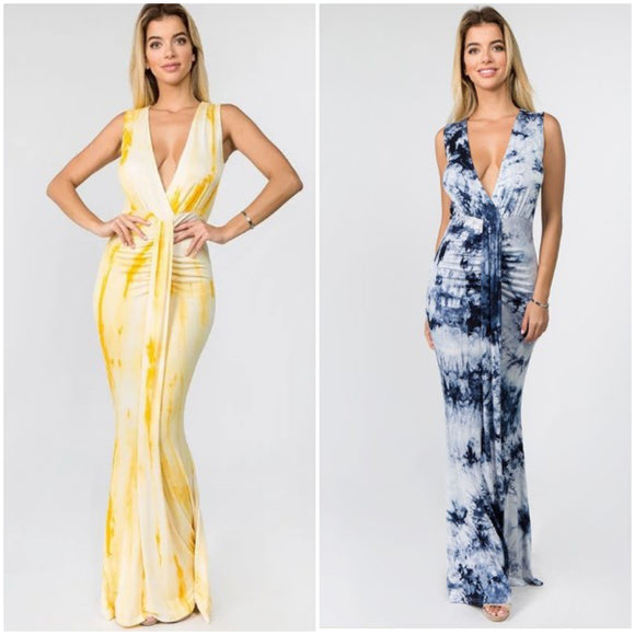 Rayon Tie Dye Hollow Front Maxi Dress