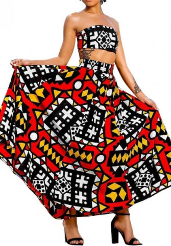 Multi African Print Skirt Set