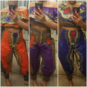 Traditional Print Off Shoulder Top & Genie Pants Set