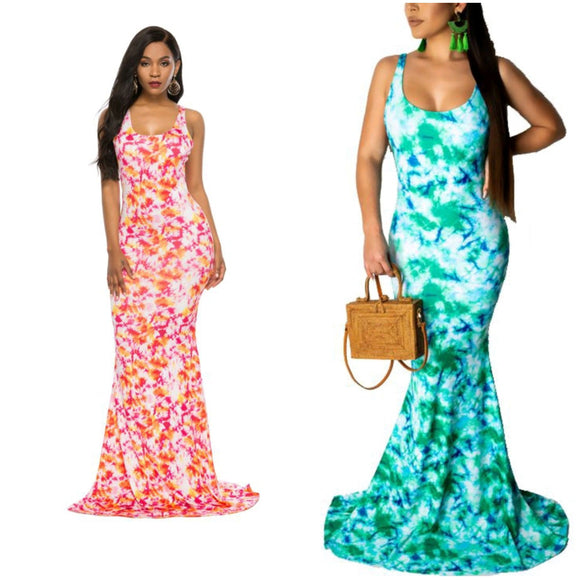 Tie Dye Low Back Fish Tailed Maxi Dress