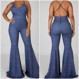 Stretch Denim Criss Cross Back Bell Bottom Jumpsuit - S&E Retail Expo