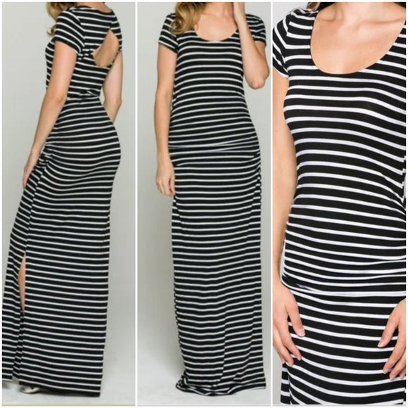 Black & White Striped Leg Slit Maxi Dress